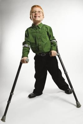 Child with crutches