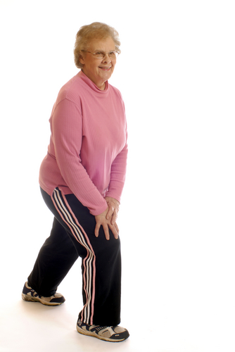 Old lady doing exercise