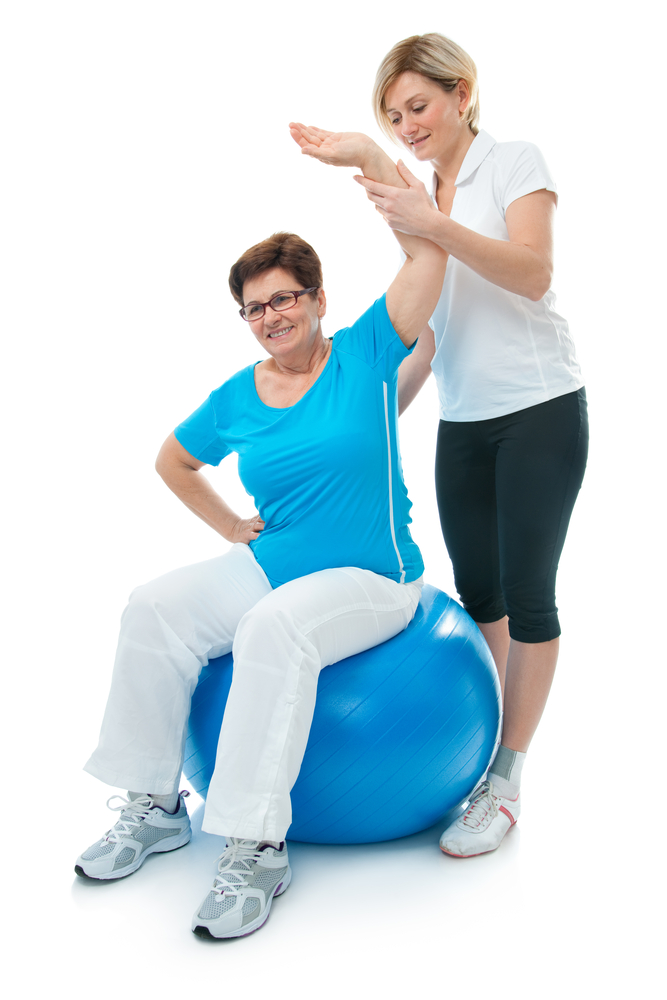 Osteoporosis or care of older - lady on gym ball